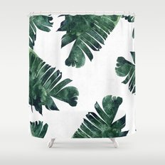 Banana Leaf Watercolor Pattern #society6 Shower Curtain