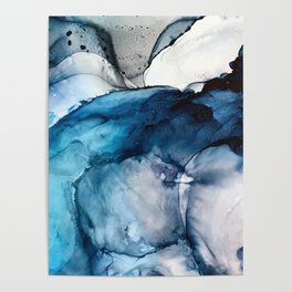 White Sand Blue Sea - Alcohol Ink Painting Poster