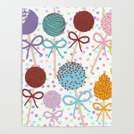 seamless pattern Colorful Sweet Cake pops set with bow on white polka dot background Poster