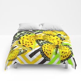CONTEMPORARY GREY & YELLOW PATTERN BUTTERFLIES Comforters