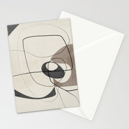 Minimalist Abstract Art Shapes - Scribbles Smokey Blue 2 Stationery Cards
