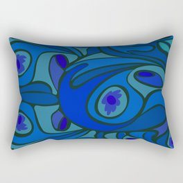 Rooster in Dark Blue/Green Rectangular Pillow