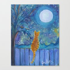 Cat on a fence in the moonlight Canvas Print