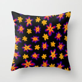 Neon Dark Orange Yellow Spring Floral Pattern Throw Pillow