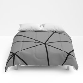 Geometric pattern shapes - black and grey Comforters