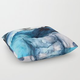 White Sand Blue Sea - Alcohol Ink Painting Floor Pillow