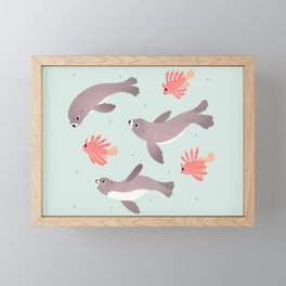Sea lion & Lionfish Framed Mini Art Print