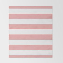 Large Blush Pink and White Cabana Tent Stripes Throw Blanket