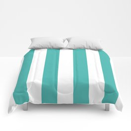 Vertical Stripes - White and Verdigris Comforters