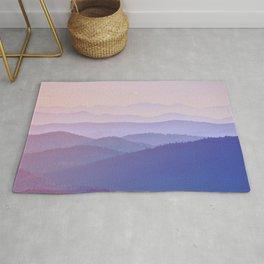 Purple Sunset Rolling Foggy Hills Landscape Photograph Rug