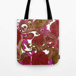 Outrageous Hand Drawn Floral Bohemian Red Paisley Tote Bag