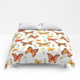 Butterfly Totem White Background Comforters