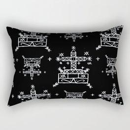Baron Samedi Voodoo Veve Symbols in Black Rectangular Pillow