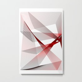 Red blue Geometric abstract Metal Print