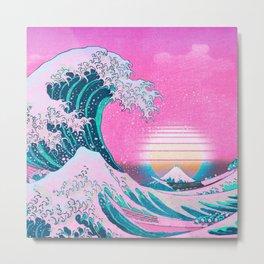 Vaporwave Aesthetic Great Wave Off Kanagawa Sunset Metal Print