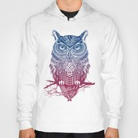 purple Hoodies featuring Evening Warrior Owl by Rachel Caldwell