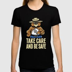 Take Care  Womens Fitted Tee LARGE Black