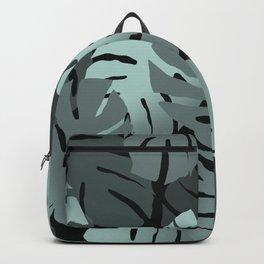 Big Monstera Leaves turquoise black  Backpack