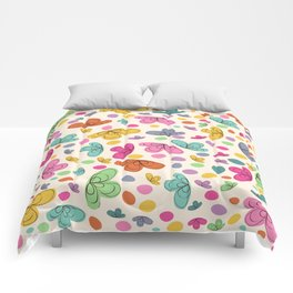 Summer Colorful Flowers Abstract Illustration Comforters