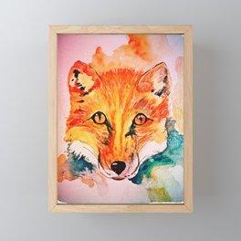 Watercolor Fox Cute Animal Portrait Painting Framed Mini Art Print