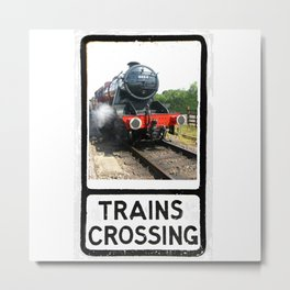 Vintage Steam Railway train warning sign design Metal Print