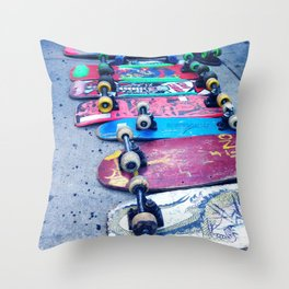"""SKATEBOARD THRIFT"" BY ROBERT DALLAS Throw Pillow"