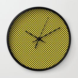 Blazing Yellow and Black Polka Dots Wall Clock