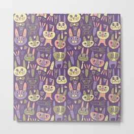 Bunnies Violet Metal Print