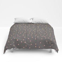 Gold glitter blush pink ombre confetti polka dots grey cement concrete Comforters