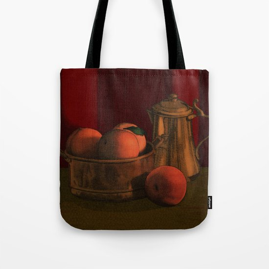 Still life with peaches Tote Bag