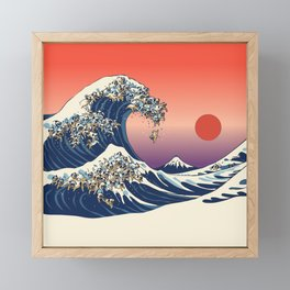 The Great Wave of Pug Framed Mini Art Print