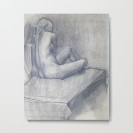 Pensive Nude Metal Print