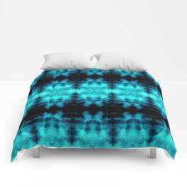 Turquoise Blue Black Diamond Gothic Pattern Comforters