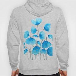 blue poppy field watercolor Hoody