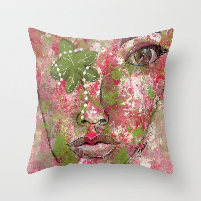 Come Thru Pink and Green Throw Pillow