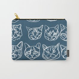 Blue and White Silly Kitty Faces Carry-All Pouch