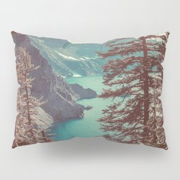 Vintage Blue Crater Lake and Trees - Nature Photography Pillow Sham