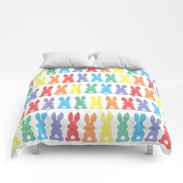 Rainbow Easter Bunny Silhouette Parade Comforters