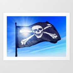 Pirate skull and crossbones flag waving on the wind Art Print