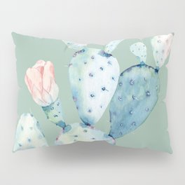 Rose Desert Cactus Mint Green Pillow Sham