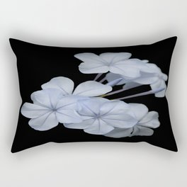 Pale Blue Plumbago Isolated on Black Background Rectangular Pillow