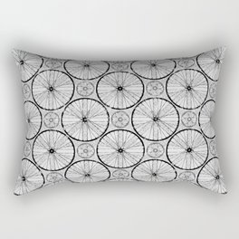 For the Love of Cycling Pattern - Grey Black Rectangular Pillow