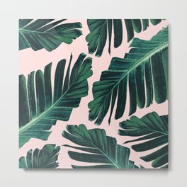 Tropical Blush Banana Leaves Dream #1 #decor #art #society6 Metal Print