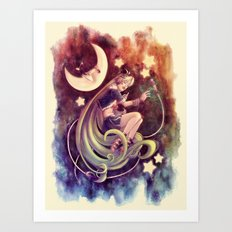 The Moon and the (Rock)Star Art Print