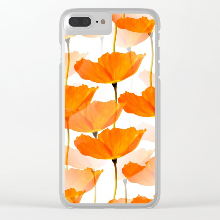 Orange Poppies On A White Background #decor #society6 #buyart Clear iPhone Case