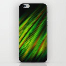 Colorful neon green brush strokes on dark gray iPhone Skin