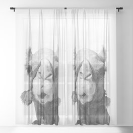 Black and White Camel Portrait Sheer Curtain