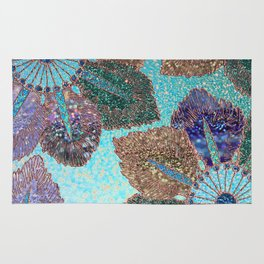 Aqua Green Brown and Blue Faux Glitter Flowers on #Society6 Rug