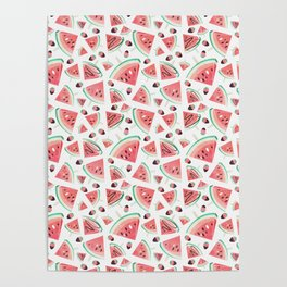 Watermelon popsicles, strawberries and chocolate Poster
