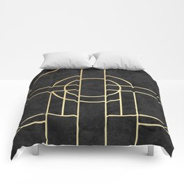 Art Deco Black Marble Comforters
